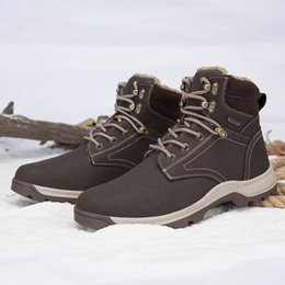 Wholesale Work Boots For Men Waterproof - High Quality Premium Ankle Boots for Men Hiking Shoes Winter Warm Snow Boots Waterproof Outdoor Walking Work Safety Brown Black US6-12