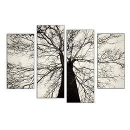 Wholesale Famosi dipinti moderni in bianco e nero Winter Tree Oil Painting Spray Pain Art Home decorazione della parete