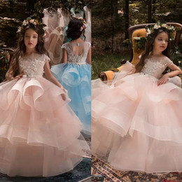 Wholesale cheap puffy ball gowns - Cute Blush Pink Flower Girls Dresses For Weddings Long Puffy Skirts Beads Appliqued Pageant Communion Dress Cheap Kids Birthday Ball Gowns