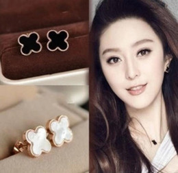 Wholesale 925 Silver Rose Stud Earrings - 925 Silver Plated Clover Earrings Rose Gold Lucky Ear Stud Earring Jewelry for Women Gift High Quality Factory Wholesale