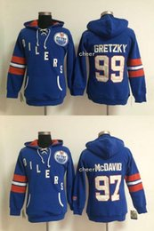 Wholesale Cheap Hoodies Woman - 2017 Cheap Wholesale Ice hockey hoodies Edmonton Oilers #97 mcdavid #99 gretzky blue women Hoodies Drop Shipping Hot sale Top Quality