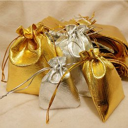 Wholesale Silk Storage Bags - Jewelry Jewels Pouches gift storage bags Gold Silvery Drawstring Silk jewellery bag Christmas Wedding Birthday Party Gifts Pouch Bag