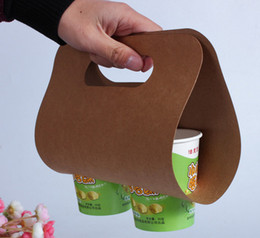 Wholesale Brown Coffee Mugs - Can be printed logo Milk tea Coffee mugs Beverage cup brown paper bag Juice cup Packaging Portable paper bag Double Cup