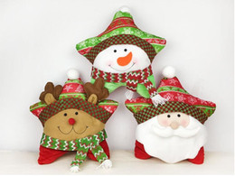 Wholesale Christmas Decoration Patchwork - Brand New Lovely Star Shaped Xmas Decor Santa Claus  Elk  Snowman Pillow Cushion Home Festival Decorations Christmas Gifts For Children
