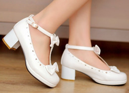 Wholesale Hot Girl Point - 2016 hot new Sweet T Cutout Bow Strap Round Toe Casual Thick Heel Single Shoes.Cosplay and Lolita Shoes for Woman and Girl