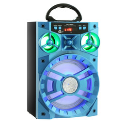 Wholesale Mobile Phone Track - Blue Portable High Power Output MP3 FM Radio Wireless Bluetooth Speaker Wih USB TF Card Slot Support AUX Song Track LED Light Flash