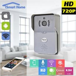 Wholesale Remote Unlock - 720P wifi door bell peephole PIR Motion Sensor IR Night vision Remote Unlock video intercom door peephole camera Max 5 users 64G