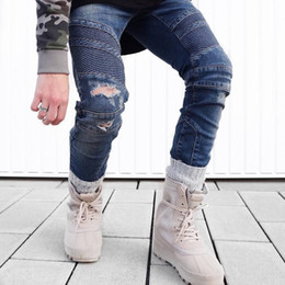 Wholesale Urban Hip Hop Jeans - kpop boost fear of god urban clothing trousers black blue skinny biker joggers hip hop men pants represent jeans