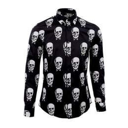 Wholesale Mens Slim Long Sleeve Shirts - Luxury Men Shirt Brand Skull Printed Chemise Homme Long Sleeve Cotton Slim Shirt Men Turn Down Collar Casual Mens Dress Shirt