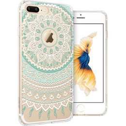 Wholesale One Piece Phone Cover - Phone Case for iPhone 7 Plus 6 6S 5 5S SE ESR Totem Henna Pattern One Piece Hybrid Shell Soft TPU Hard Back Protective cover Opp bag package
