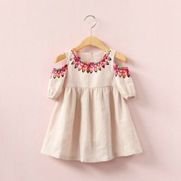 Wholesale champagne lace blouse - short sleeve Strapless girls cotton blouse shirt kids skirts children fashion outwear baby girl clothes