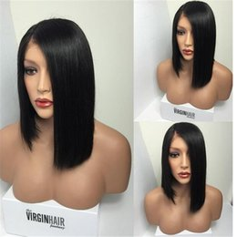 Wholesale Woman Beautiful Short Wigs - Female Star Hair 7A Grade Short Lace Front Wigs Human Hair For Black Women Straight Glueless Full Lace Wigs With beautiful woman