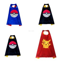 Wholesale Christmas Fairies Elves - Double layer Poke cape children Pikachu Elf Ball printing Cosplay capes Halloween Party Costumes for Kids clothes DHL C1182