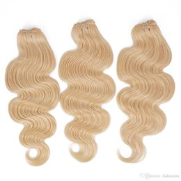 Wholesale 22 Wavy Blonde Hair Extensions - Brazilian Virgin Hair Bundles Body Wave Hair Extension 613 Blonde 3pcs Wet and Wavy Remy Human Hair Weave Cheap Queenlike 9A Diamond Grade