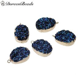"Wholesale Blue Druzy Pendant Silver - Resin Druzy Pendants Oval Gold Plated Blue AB Color 37mm x23mm(1 4 8"" x 7 8"") - 36mm x23mm(1 3 8"" x 7 8""), 2 PCs 2016 new Free shipping jewe"