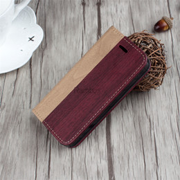 Wholesale Iphone 5s Covers Wood - Mobile Phone Retro Wooden Phone Accessory Leather Wood Wallet Case Flip Cover for iphone 5 5s 6