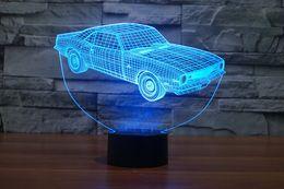 Wholesale Christmas Card 3d - 3D Car Night Lamp Optical Night Light 10 LEDs Night Light DC 5V USB Powered AA Battery Bin Factory Wholesale
