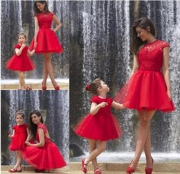 Wholesale Cupcake Caps - Red Mother and daughter dresses ball gown flower girls dresses mini tulle cupcake cap sleeves backless girls pageant gowns BA2299