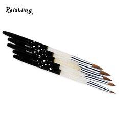 Wholesale Sable Brush Sets - nail 2017 Size 2# 4# 6# 8# 10# 100% Sable acrylic brush 5pcs SET Professional Black Sable Acrylic Kolinsky Nail