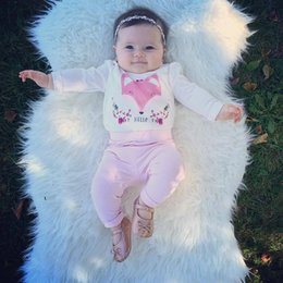 Mameluco de niña bebé rosa online-2017 Ins Hot Baby Girls 2 unids Pink Fox Top Romper + Pants Kids Toddler Infantil de manga larga Floral trajes de primavera niños trajes