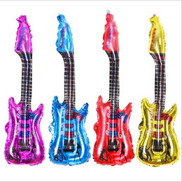 Wholesale Pool Materials - Eco-friendly pvc material Outdoor beach kids inftable toy guitar inflatable pool toy guitar with inner noise sizes 85x30cm free shipping
