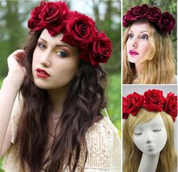 Wholesale Silk Rose Flower For Hair - New Women Handmade Rose Flower Wreath Crown Garland Halo for Wedding Festivals Accessories Rose Floral Crown