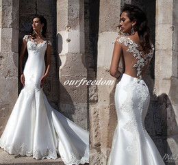 Wholesale Bridal Wedding Collection - Vestido De Novia 2016 New Collection Milla Nova Lace Wedding Dresses Sheer Crew Back Appliques Mermaid Bridal Gown For Spring Fall Winter