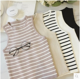 Wholesale Black White Striped Tank - 2016 spring and summer new European and American fashion sleeveless knit camisole female wild bottoming shirt Slim solid color shirt