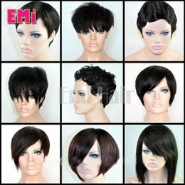 Wholesale Cheap Full Lace Peruvian Wigs - Brazilian human hair Bob wig straight body curly Pixie Cut cheap wigs short human hair wigs full density front bob lace wigs for black women