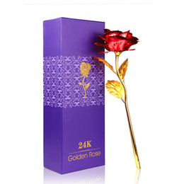 Wholesale 24k plated red gold - New Creative Romantic 24K Gold Red Plated Rose Flower For Home Decoration And Valentine's day Wedding Christmas With Box