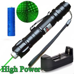 Wholesale Battery Powered Laser - High Power Astronamy 10Mile Green Laser Pen Pointer 5mw 532nm Cat Toy Military Powerful Laser Pen Adjust Focus+18650 Battery+ Charger