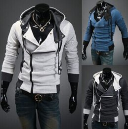 Wholesale Desmond Miles Jacket - 2016 New Stylish Mens Assassins Creed 3 Desmond Miles Costume Hoodie Cosplay Coat Jacket 5 colors 6 size