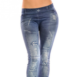 Wholesale Wholesale Jean Leggings - Wholesale- 2016 NEW Sexy Women Jean Skinny Jeggings Stretchy Slim Leggings Fashion Skinny Pants