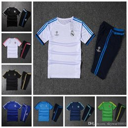 Wholesale Free Soccer Training - 2017 21018 top Champions League 17 18real madrid short sleeves training suit soccer jersey short sleeve 3 4 pants survetement free shipping