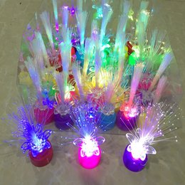 Wholesale Disposable Changing - New Light Up Finger Bright Rose Flower Colorful Change Led Flashing Fiber Optic Lights Kids Night Toys Gift
