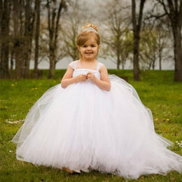 Wholesale Strapless Kids Wedding Dresses - Formal Tulle Baby Princess Flower Girl Dresses for Wedding Party First Communion Dress Long Puffy Toddler Gown Bridesmaid Kid Evening Gowns