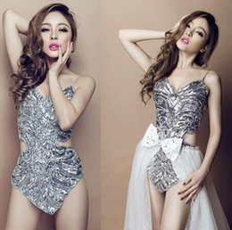 Wholesale Stage Clothing Gold - Club DS sequins sexy stage performance clothing pole dance female temperament and clothes mujer vestidos baile dedance clothing