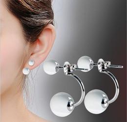 Wholesale Opal Stud Earrings Sterling Silver - Hot Sale 2017 New high-quality fashion jewelry, 925 sterling silver U Style Double Round Opal earrings