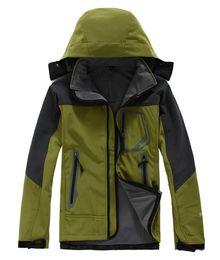 Wholesale Red Military Coat - Fashion Men Soft shell Fleece jacke Waterproof windbreaker outdoor jackets climbing sport ski Jacket Sportswear military outerwear coats