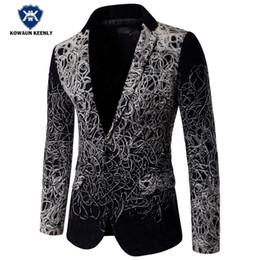 Wholesale Men Dress Suits Cheap - Wholesale- Fashion Blazer 2017 Slim Fit Luxury Blazer Men Suit Jacket Party Floral Blazer Casual Stage Wear Cheap Wedding Dress 5XL