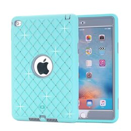Wholesale Diamond Dust Covers - Deluxe Bling Diamonds Fashion Dual Color Hard Shield Silicone & Plastic Case For iPad Mini 4 Hybrid Robot Armor Cover w Screen Protector+Pen