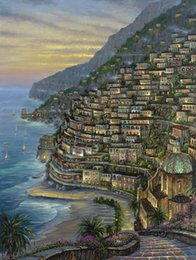 Wholesale Seaside Wall Decor - Seaside Villa In The Evening HD Art Print Original Oil Painting on Canvas high quality Home Wall Decor,Multi size,Free Shipping,Framed