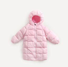 Wholesale Girls Pink Hooded Jacket - New Winter Baby Girls Boys Down Jacket Coat Kids Hooded Mid-long Tops Outwear Warm Coat Children Wadded Jackets Coats 13462