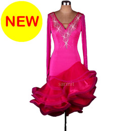 Wholesale Hot Fishnet Dresses - CADL013- 2017 New Women Latin Dance Dress Long Sleeve Samba Dance Costumes Tango Salsa Dress Samba Costume Tassels Hot Pink Rhinestones