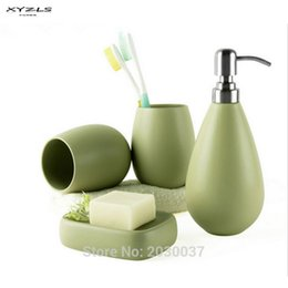 Wholesale Shampoo Sets - Xyzls 4Pc Ceramic Matte Solid Color Soap Dish Dispenser Shampoo Bottle Tumbler Bathroom Accessories Set 5Clolors Available