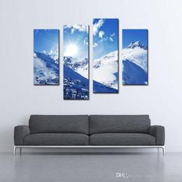 Paesaggistica unita online-4 Picture Combination Canvas Painting Art Sunny Winter Rocky Mountains Landscape In Colorado Stati Uniti Jokul per la decorazione della parete