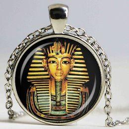 Wholesale Egypt Charms - 25mm Egyptian Pharaoh Glass Dome Pendant Necklace Ancient Egypt Tutankhamun Historical Jewelry Vintage Charm Gift
