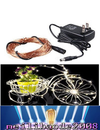 Wholesale Wire Adapter Flash - 10M 100 LED LED Copper Wire light string lighting Fairy Party Wedding Christmas Flashing LED strip(10m copper led strings+2A Adapter) MYY