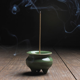 2019 bruciatore di incenso di metallo cinese Commercio all'ingrosso- Mini Celadon Incense Burner Incenso Crackle accessori per la casa d'epoca