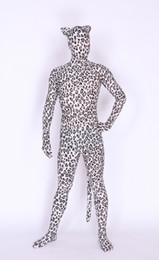 Wholesale Ear Tail Costume - new design leopard with Ears and tail Zentai Unitard Spandex Skin Suit Party Halloween Adult Costumes